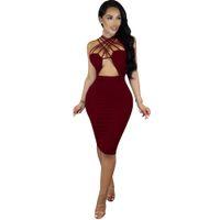 5-color yaz bandaj etek Batı Avrupa seksi etek Sling ajur gece kulübü elbise