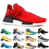 Com Mens raça da caixa do NMD Humanos Running Shoes tinta Pharrell Williams Oreo Nobel Amarelo Vermelho esportivo estilista sneakers Sapatos 5-11.5