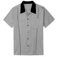 포켓 L-2XL 2020와 서양 남성 의류 로커 빌리 그레이 레트로 디자인의 셔츠 반팔 남성 셔츠