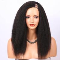1 * 3 왼쪽 오프닝 u 흑인 여성의 가발 kinky 스트레이트 브라질 버진 upart 인간의 머리 가발 9a