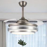 Ventilateur de plafond 42 pouces moderne avec lumière et télécommande FAISELIER rétractable lame invisible à la lumière à trois couleurs pour la chambre à coucher Dinning Room