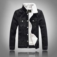 Venda quente dos homens novos de inverno grosso denim jaqueta preta magro cordeiro casaco de lã frete grátis tamanho M-5XL