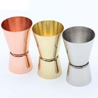 الوالج الفولاذ المقاوم للصدأ مطلية بالذهب رئيس مزدوجة اوقية (الاونصة) زجاجة معدنية الخمور قياس كأس 15 / 30ML المعطي الألوان شريط عداد 4 5mc C2