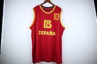 진짜 그림 Fernando Martin # 10 Team 스페인 Espana Baloncesto Red Retro 농구 유니폼 남성 스티치 사용자 정의 모든 번호 이름 유니폼