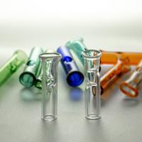 Советы красочных стеклянных фильтров с плоским круглым ртом для кальянов сухой травяной рулон бумаги Pyrex сигареты держатель трубки трубки трубы