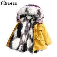 New winter 2- 10T baby children fur trench fashion black whit...