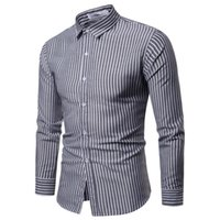 Hot Sale Cotton Men Shirt Long Sleeved Striped Solid Plaid M...