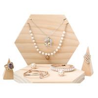 [DDisplay] creativo dell'esposizione dei monili del vassoio del pendente esagonale rustico personalizzato gioielli titolare del braccialetto dell'esposizione in legno stand di visualizzazione