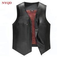 High quality 2018 new Winter men motorbike leather vest with...