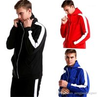 2Pcs Tracksuits Tick Print Solid Color Sports Style Homme Cl...