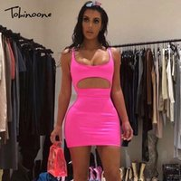 Tobinoone Summer Bodycon Mini Dress 2018 Pink Women Cut Out ...