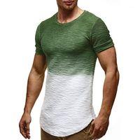 Schlank mit Rundhalsausschnitt Kurzarm Herren Kleidung Lässige Bresthable Tees Mens-Sommer-Designer-T-Shirt Homme Colorblock