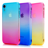 Новый для Iphone 11 Pro XS макс XR X 6S 7 8 PLUS SE 2020 градиент цвета TPU гель кожа случай телефон крышка Accessoriescell тонкого прозрачного