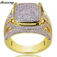 Choucong Handmade Мужской Кольцо Хип-Хоп Pave Setting Diamond Желтое Золото Заполненные Обручальные Кольца для мужчин Золотой Цвет Ювелирных Изделий
