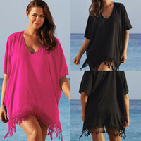 Le donne Plus Size bikini delle signore del merletto della nappa dello Swimwear Swimsuit Cover Up Dress Beach