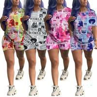 النساء تتسابق اللون على النقيض من صحيفة رياضية الصيف طباعة قصيرة الأكمام البلوز أعلى + السراويل 2 مجموعات قطعة عارضة الملابس الرياضية الملابس D4209