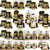 Pittsburgh Penguins 87 Sidney Crosby 71 Evgeni Malkin 58 Kris Letang 59 Jake Guentzel 72 Patric HornQvist Homens Respirável Hóquei Jerseys