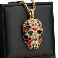 Hip Hop Schmuck Bling Maske Halsketten lange kubanische Gliederkette Goldketten Iced Out Kette Halskette