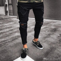 Fashion Ripped Jeans Men Pants Skinny Slim Straight Denim Me...