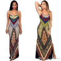 Kadınlar dashiki Geleneksel Elbise Hippi Stili Seksi Uzun Giyim Afrikalı Elbiseler Kadın Casual Backless Robe deseni yazdır