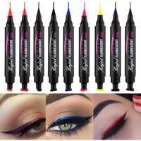 Sexy Doppelkopfdichtung flüssige Eyeliner fluoreszierend 6 Farben lang leuchtende dauerhaftes Wasser Make-up Eyeliner 2g