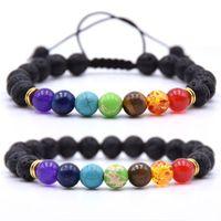 2019 10pc / lot Nuovo 7 Chakra Bracciale Preghiera Uomo Nero Lava guarigione Balance Beads Reiki Buddha di pietra naturale di yoga per le donne Bracciale