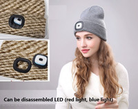 Multi- function LED lighting knit warm hat with light hat red...