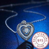 Elegant 925 Sterling Silver Hollow Heart Pendant Necklace fo...