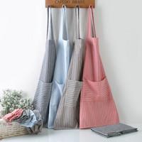 Delantal de rayas de tela escocesa Delantal de cocina ajustable Delantal de cocina de cocina unisex con bolsillos Herramienta de limpieza para hornear Craft Craft WX9-1310
