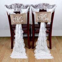 35 * 300см Белого Кружева Свадьба Председатель Пояс лук Свадебного стул украшение банкет Место украшение Романтическая свадьба