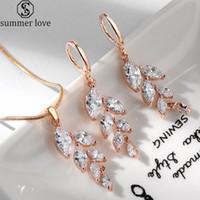 Sistemas de la joyería de moda blanco cristalinos cúbicos Circonia collar de los colgantes de la hoja de color pendientes de oro para el regalo del día-Z de Mujeres de San Valentín