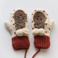 Mode-automne et des gants en tricot d'hiver gants de Noël élans petit amour, plus épaississement de velours gants de laine doigt plein cou suspendu