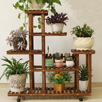 Pianta Di Bambù Flower Pot stand Garden Planter Nursery Pot basamento della mensola Interni Esterni Giardino Decorazione Regali Strumenti Con Ruote