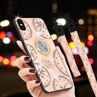 For iPhone Xs XS XR Xs-Max فاخر Diamond Clock Pattern Phone Case With 3D Ring Stand Protective Back Cover With Lanyards