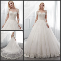 A Line Long Sleeve Wedding Dresses Sheer Illusion Crew Neck ...