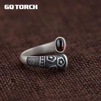 GQTORCH Vitnage Thai Bague en argent argent 925 anneaux pour les femmes marqueté Rouge Grenat pierre naturelle Fleur Gravé Grenat CJ191205