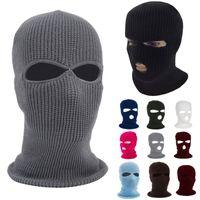 New Knit 3 buracos máscara de face máscara de esqui Balaclava chapéu rosto beanie boné neve inverno motocicleta capacete capacete chapéu mascaras HH9-2975