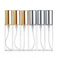 Muestra 10 ml pulverizador botellas de perfume tapa de cristal claro de aluminio recargable portátil de viaje Mini cosméticos contenedor de usos múltiples de la bomba fina niebla