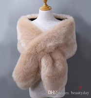 Winter Faux Fur Wedding Bridal Envoltórios Quentes Xailes Outerwear Mulheres Jaquetas Para Prom Noite Party 20 Cores Livre Tamanho 65 '* * 13' 'Limpo Stock