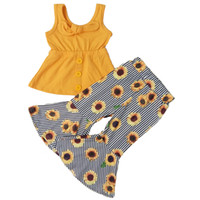 Enfants Designer Vêtements Girls Sans manches Top Cloche Tenue de fond Baby Girls Designer Vêtements d'été Set Sunflower Imprimer Kids Boutique Tenues