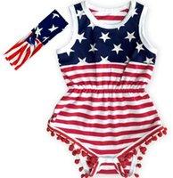 USA Flagge Jumpsuit Baby Mädchen Quaste Sleeveless Romper Amerikanische Flagge Druck Strampler Neugeborene Kinder USA Jumpsuit mit Stirnband GGA3364-2