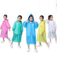 Niños sudaderas capas de lluvia Eva transparente Viajar hidrófugos deben poncho impermeable disponible emergencia rainwears de prendas protectoras de RRA3080