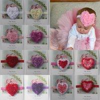 Kız içinde 40pcs 8 cm Şifon Rozet Kalp Çiçek Bantlar Saç Aksesuarları, Kız FOE Kafa Çiçek, şifon Kalp Çiçek