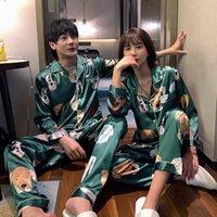 Женщины и мужчины пижамы наборы пары пижамы мультфильм Pijama Femme пижамы любовников одежда повседневная домашняя одежда шелк атлас пижамы