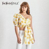Twotwinstyle Casual Printing Shirt For Women Puff Shell Off ...