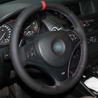 DIY El dikiş Siyah Hakiki Deri Araba Direksiyon Kapağı BMW E90 325i 330i 335i