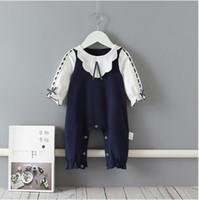 IN-Babykleidung Spielanzug aus 100% Baumwolle Pet Pan-Kragen Dunkelblau Weiß Patchwork Body Frühling Boutique Strampelhöschen Fall 0-2T