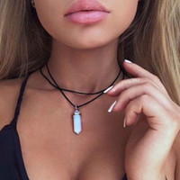Pendel Kristall Anhänger Halsketten Doppelschicht Schwarz Samt Chokers Punk Geometrische Opal Anhänger Seil Halskette Für Frauen Böhmen Schmuck