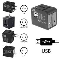 محول السفر الدولي محول الطاقة العالمي محول المكونات في جميع أنحاء العالم في واحد مع 2 منافذ USB مثالية بالنسبة لنا الاتحاد الأوروبي المملكة المتحدة AUS