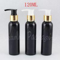 120ML الأسود جولة الكتف زجاجة من البلاستيك مع الذهب غسول مضخة، 120CC الشامبو / غسول تغليف زجاجة، ماكياج الفرعية تعبئة